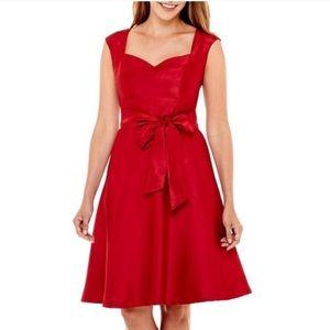 Red satin Swing dress EVAN PICONE